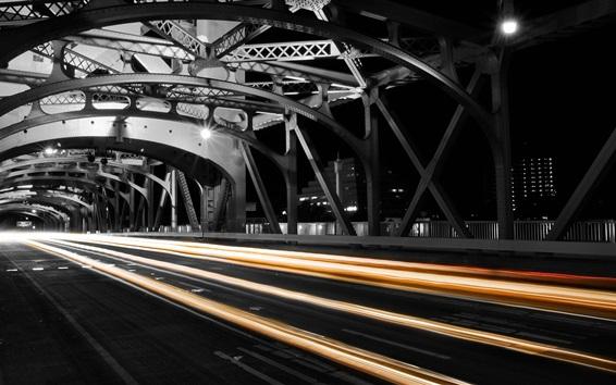 Wallpaper City, night, bridge, light lines