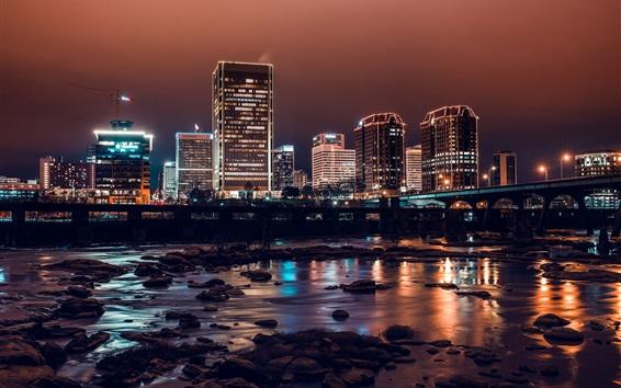 Wallpaper City night, river, bridge, buildings, lights