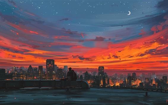 배경 화면 도시의 밤, 지붕, 연인, 예술 그림