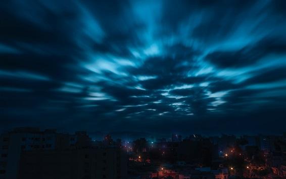 Wallpaper City, night, sky, clouds