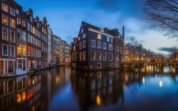 Wallpaper City, river, house, evening, Netherlands, Amsterdam