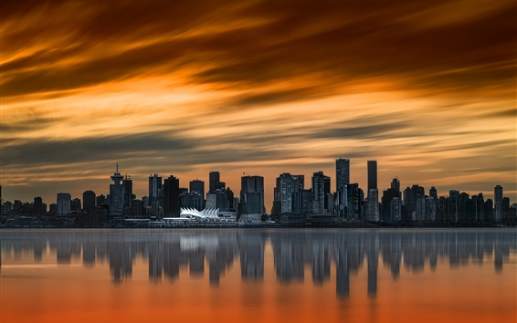 Wallpaper City, sunset, skyscrapers, river, Vancouver, Canada