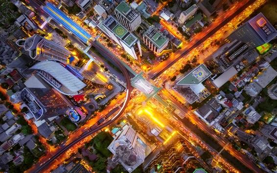 Wallpaper City top view, crossroads, street, buildings, lights, night