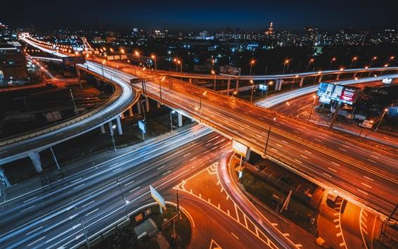 Обои Городской транспорт, дороги, ночь, светлые линии