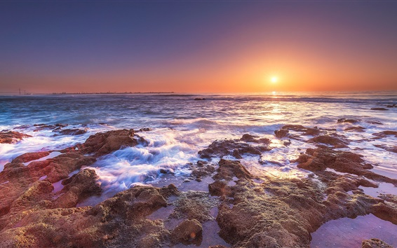 Wallpaper Coast, sea, water, sunset
