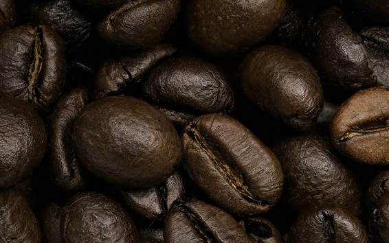 Wallpaper Coffee beans macro photography, grain