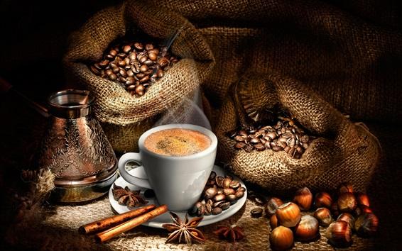 Fond d'écran Grains de café, une tasse de café, cannelle, anis étoilé, noix, sacs
