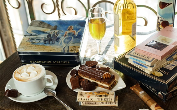 Wallpaper Coffee, marshmallows, books, cake, glass cup, wine