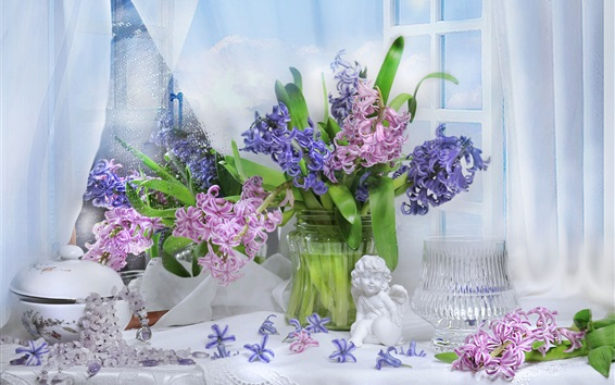 Wallpaper Colorful flowers, hyacinths, figurine