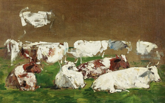 Wallpaper Cows, painting