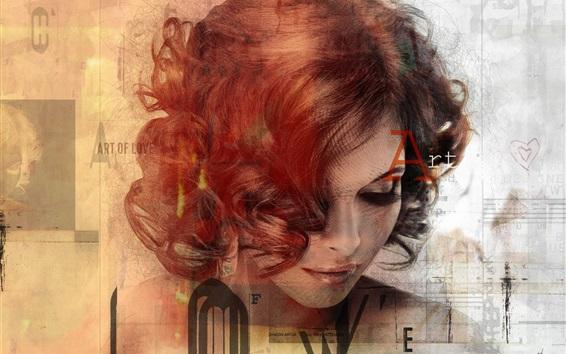 Papéis de Parede Design criativo, menina, cachos, textura