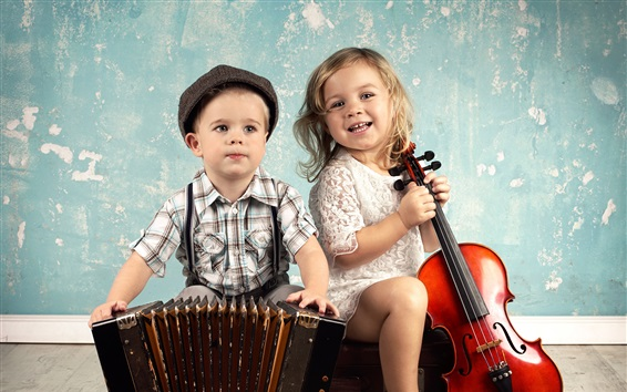 Wallpaper Cute children, boy and girl, accordion, violin