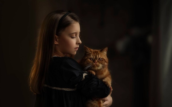 Обои Симпатичная девочка и ее кошка