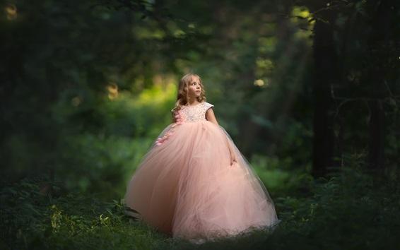 Wallpaper Cute little girl, pink skirt, forest
