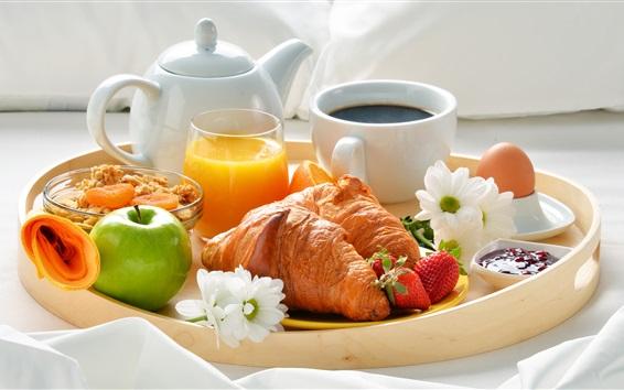 Fondos de pantalla Delicioso desayuno, café, croissant, jugo de naranja, manzana