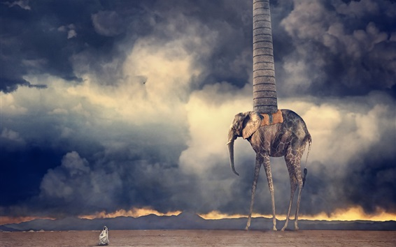Wallpaper Desert, clouds, monster, pipe, creative design