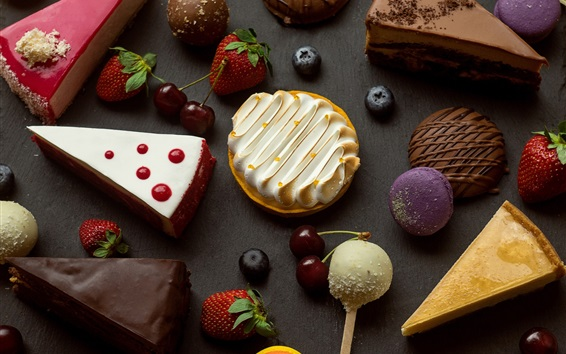 Wallpaper Dessert, cake slice, strawberry, cherry