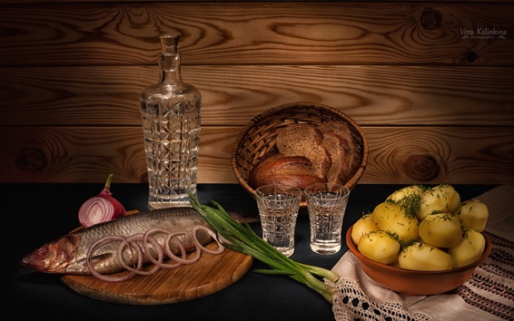 Wallpaper Dinner, fish, potato, wine, bread