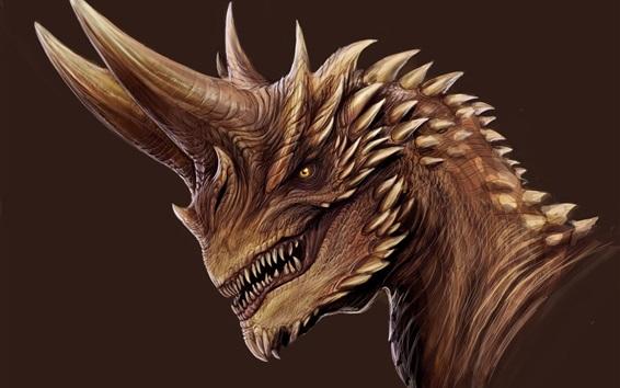 Wallpaper Dragon, horns, fangs, art picture
