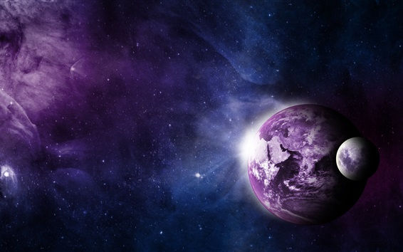 Wallpaper Earth, moon, universe, purple style