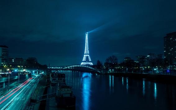 Papéis de Parede Torre eiffel, rio, ponte, estrada, iluminação, noturna, paris, frança