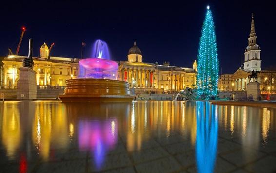 Wallpaper England, London, Trafalgar square, fountain, water, night, lights