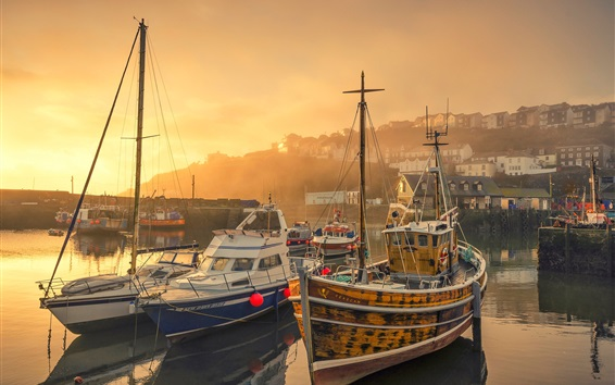 Papéis de Parede Inglaterra, mevagissey, porto, iates, amanhecer, manhã, nevoeiro