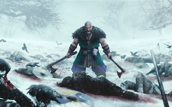Wallpaper Expeditions: Viking, berserk, man, axe, death, blood