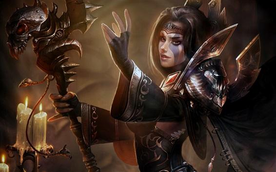Wallpaper Fantasy girl, armor, magic, artwork