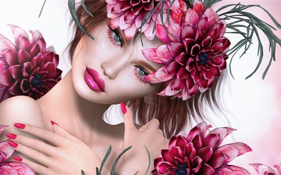 壁紙 ファンタジーガール、赤い花