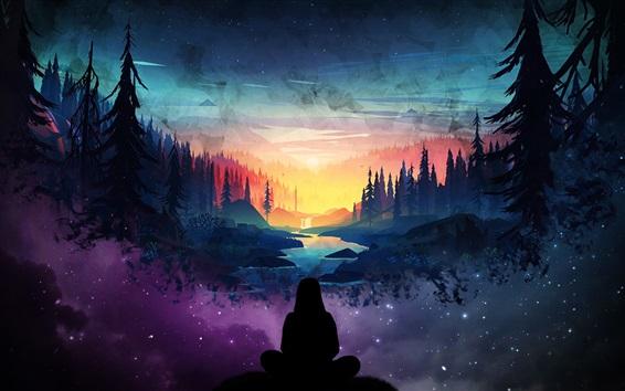 Wallpaper Fantasy world, beautiful, trees, starry, man