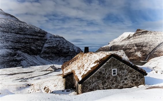 Wallpaper Faroe Islands, Saxon, house, snow, winter, mountains