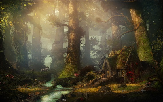 Wallpaper Forest, house, creek, art rendering picture