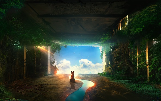 Wallpaper Fox look blue sky, clouds, tunnel, plants, river, creative picture