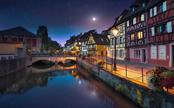 Wallpaper France, Colmar, river, bridge, houses, lights, night