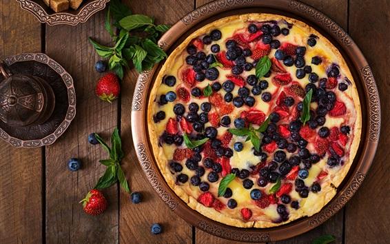 Fond d'écran Tarte aux fruits, myrtilles, fraises