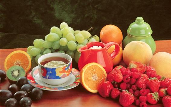 Wallpaper Fruits, grape, peach, orange, kiwi, strawberry, tea