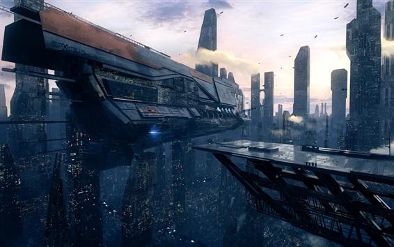 Wallpaper Future city, starship, futuristic art