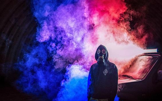 壁紙 ガスマスク、煙、人、車