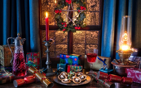 Wallpaper Gifts, window, wine, candles, cookies, lights, New Year