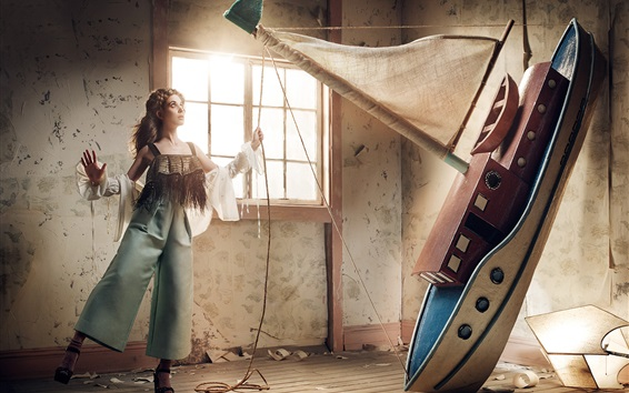 Wallpaper Girl and ship, art photography