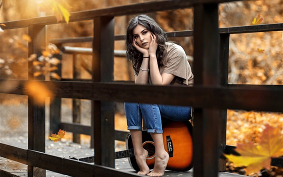 Wallpaper Girl, guitar, bridge, autumn