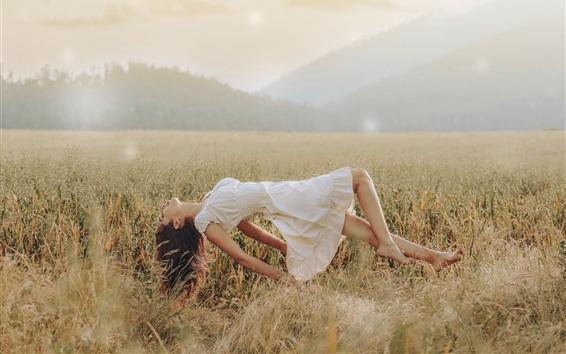 Wallpaper Girl, levitation, skirt, summer, rice field, creative