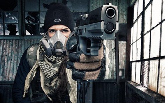 Papéis de Parede Garota use arma, máscara de gás, luvas