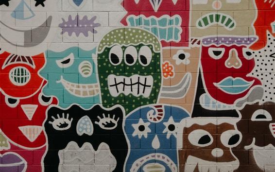 Wallpaper Graffiti wall, face, art painting