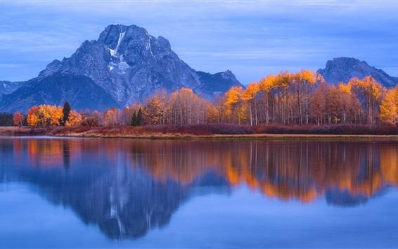Wallpaper Grand Teton National Park, USA, water reflection, mountains, trees, lake, autumn