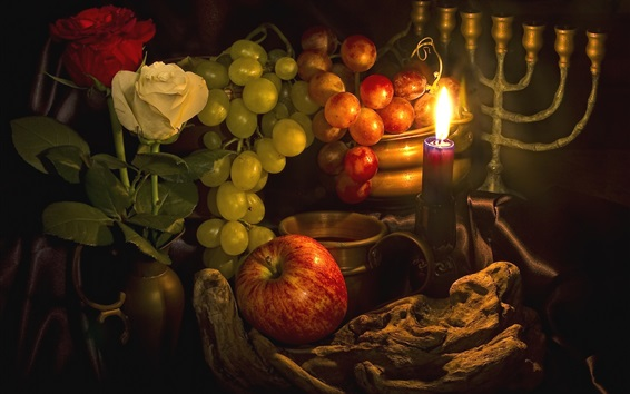 Wallpaper Grapes, apples, candle, flame, still life