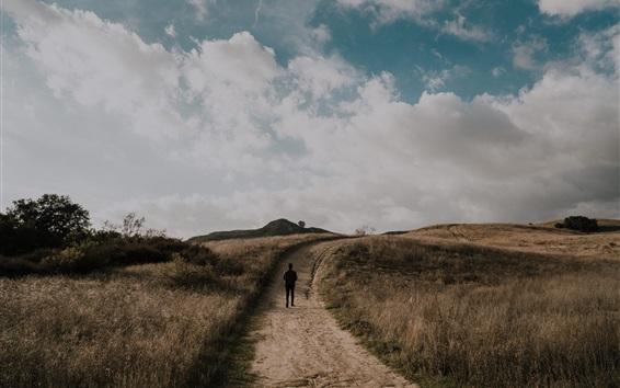 Wallpaper Grass, path, man