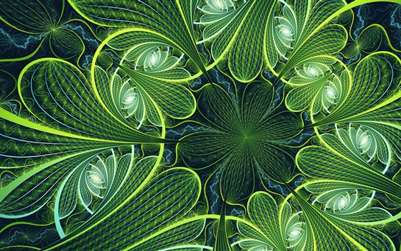 Wallpaper Green flowers, fractal picture, abstract