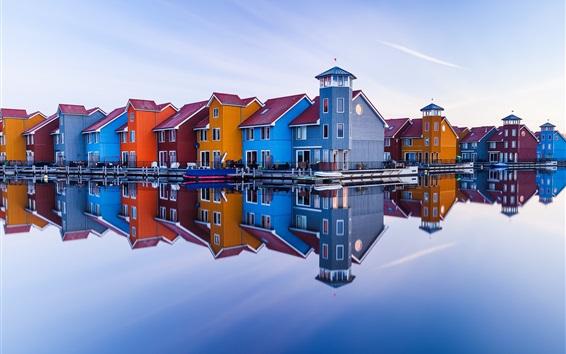 배경 화면 흐로 닝겐, 네덜란드, 다채로운 나무 주택, 강, 물 반사
